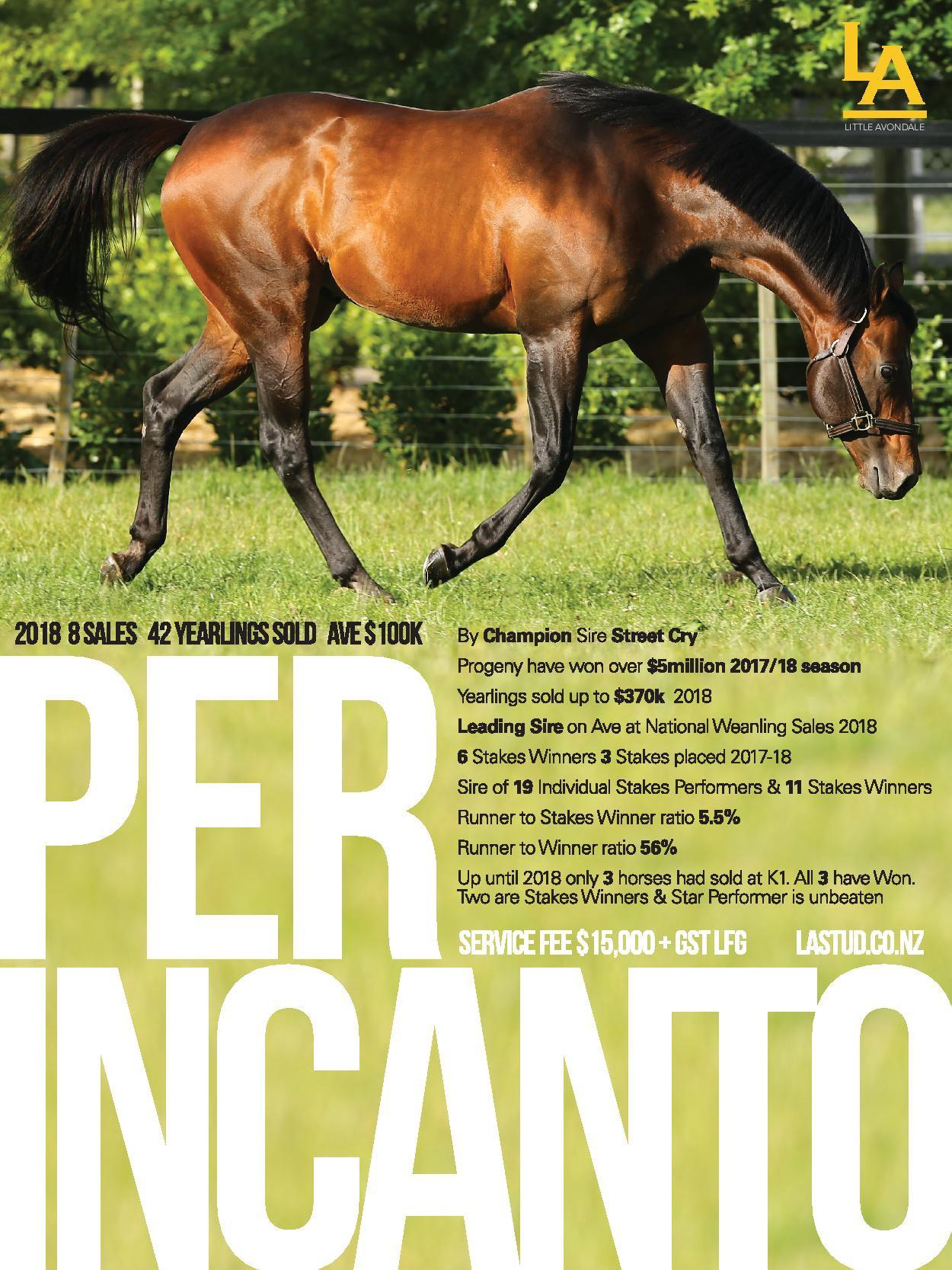 Per Incanto Over $5mil in 2018 Prizemoney