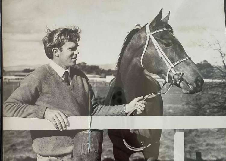 A young Buzz Williams with Sanderae (NZ) after she won the VRC Oaks